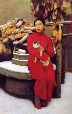 """Snow in early spring"", painting by Wang Yidong"